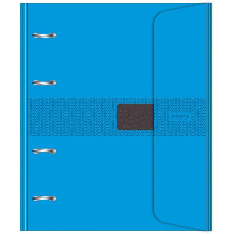 Бизнес-тетрадь со сменным блоком, на кольцах, А5, 120 листов, клетка, цвет обложки голубой