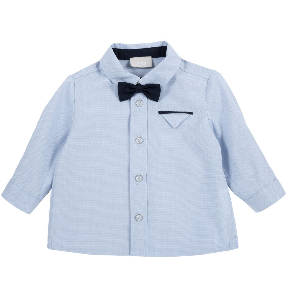 Купить 9054411, Рубашка Chicco с черной бабочкой р.092 цвет синий, Кофточки, футболки для новорожденных