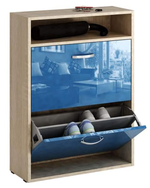 Обувница MFMaster Милан-25 МСТ-ОДМ-25 60х22,2х88,2 см, дуб сонома/синий глянец