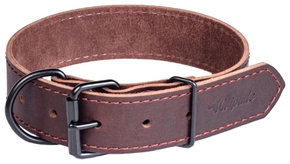 Ошейник для собак Gripalle Дакс, кожаный, стальная фурнитура, коричневый, 40мм х 55см
