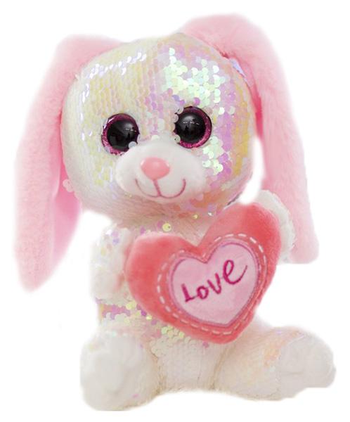 Купить Мягкая игрушка Sima-Land Зайчик с сердцем пайетки 4462324 Розовый, Мягкие игрушки животные