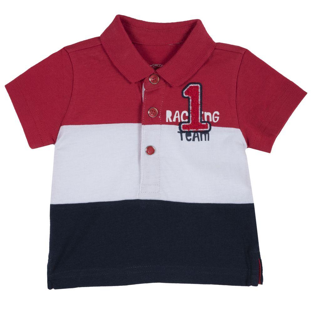 Поло Chicco красно-бело-чёрная полоска, размер 92