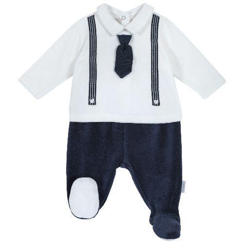 Купить 9077958, Комплект (кофта+брюки) Chicco для мальчиков р.74 цв.белый; синий, Детские костюмы
