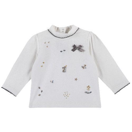 Купить 9006746, Лонгслив Chicco для девочек р.74 цв.белый, Кофточки, футболки для новорожденных