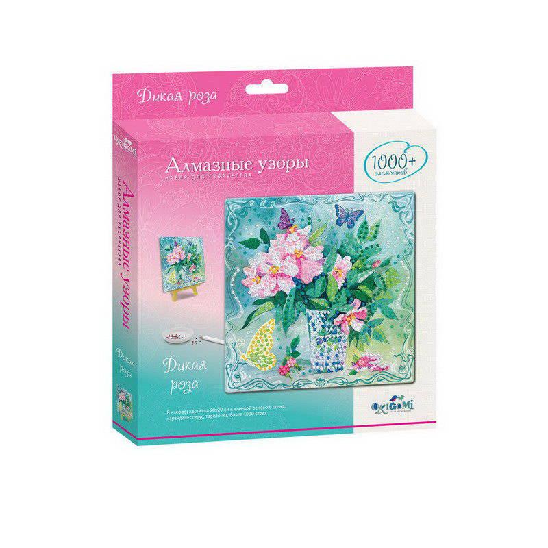 Купить Мозаика-Алмазные узоры. 20х20 см. Дикая роза., Origami, Мозаики