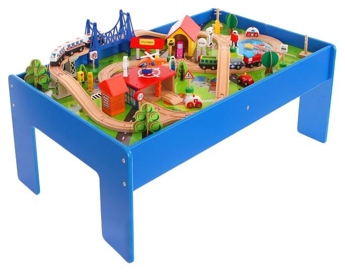 Купить Железная дорога Sima-land 88 элементов стол в комплекте, Детские железные дороги