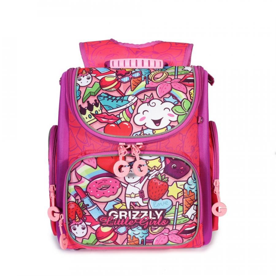 Купить Школьный Рюкзак для девочки Grizzly Ra-971-5 Жимолость - Фиолетовый, Школьные рюкзаки для девочек