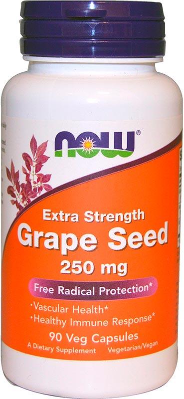 Купить Grape Seed Extract 250 мг, Grape Seed Extract Now капсулы 250 мг 90 шт.