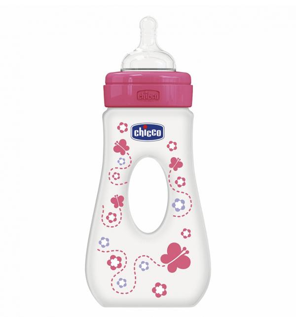 Бутылочка для путешествий Chicco Girl 240 мл, силиконовая соска