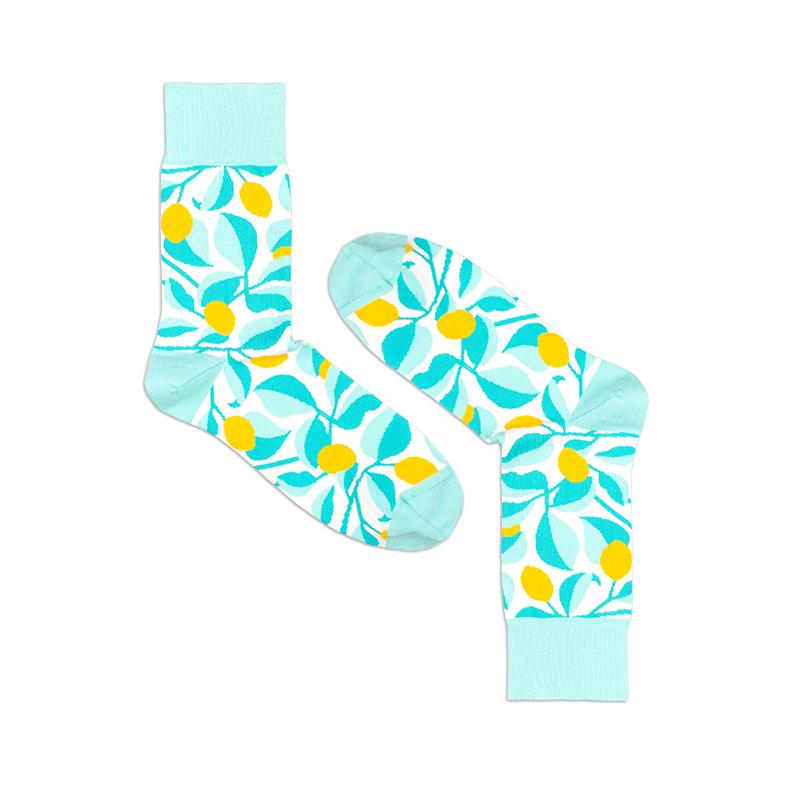 Носки унисекс Burning heels Лимоны голубые 42-45