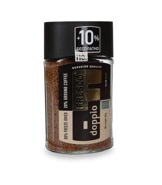 Кофе Fresco arabica doppio сублимированный с добавлением жаренного молотого 100 г фото