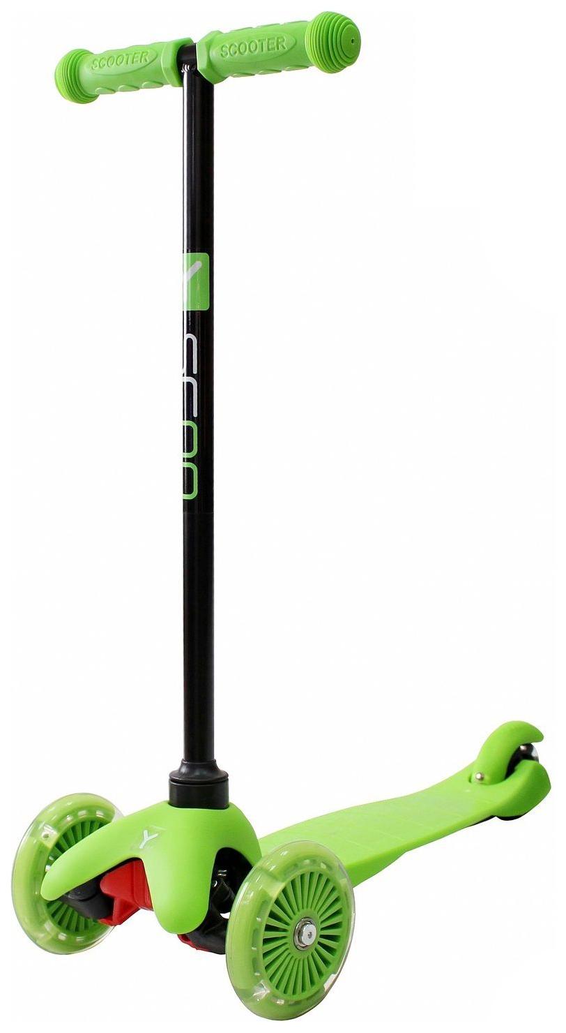 Купить Самокат трехколесный Y-Scoo mini A-5 Shine green со светящими колесами, Самокаты детские трехколесные