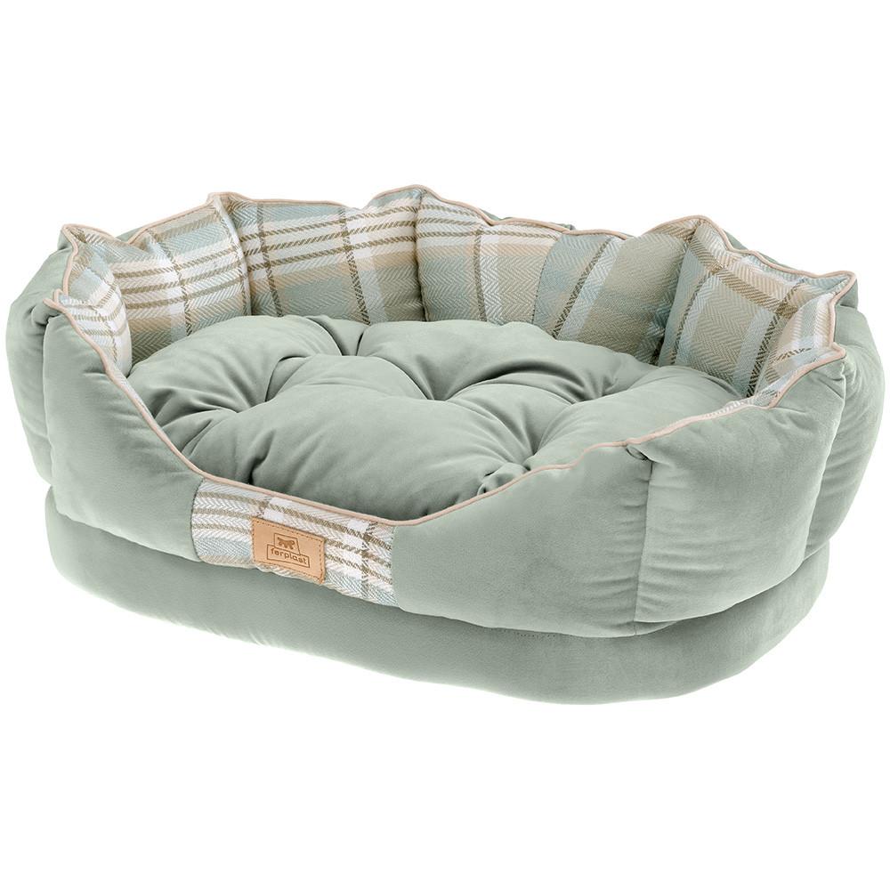 Лежак Ferplast Charles с двухсторонней подушкой для собак (45 x 35 x 17 см, Зеленый)
