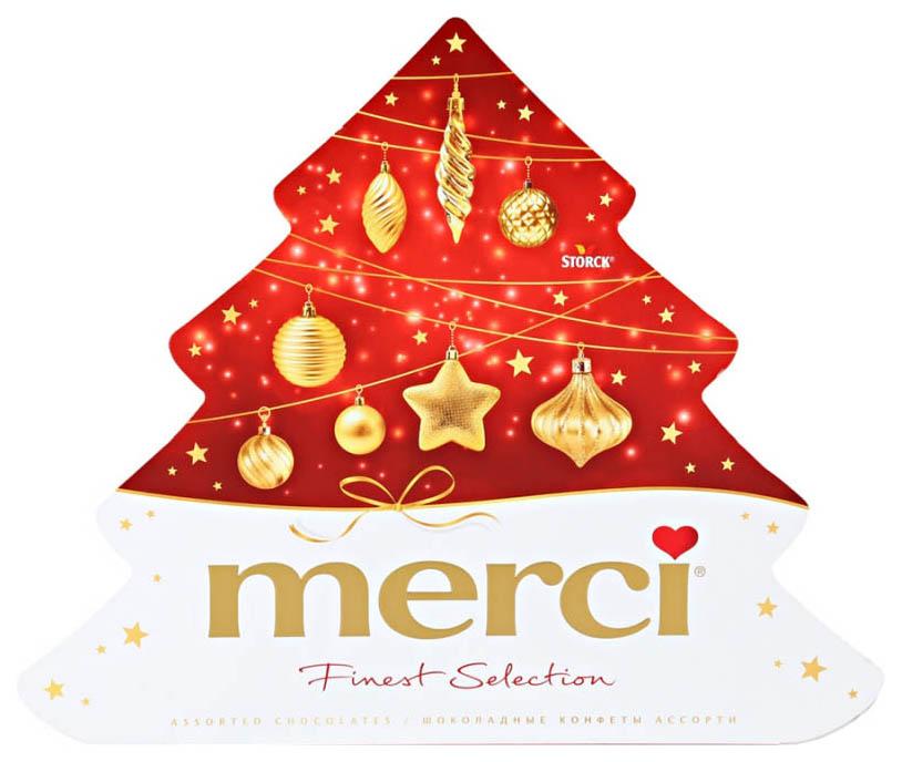 Набор Merci ассорти елочка шоколадных конфет новогодний подарочный 200 г фото