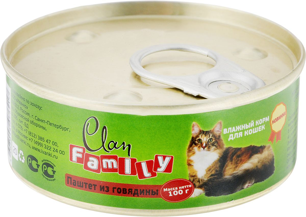 Консервы для кошек Clan Family, говядина, 100г