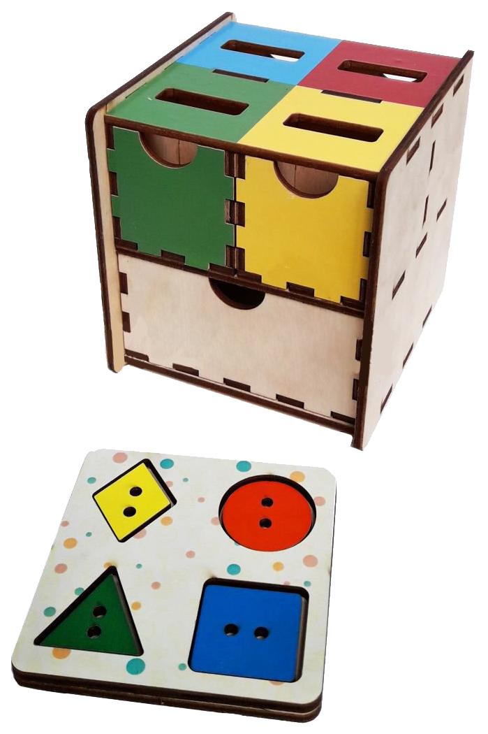 картинка Развивающая игрушка Woodland Комодик-куб Фигуры цвет от магазина Bebikam.ru
