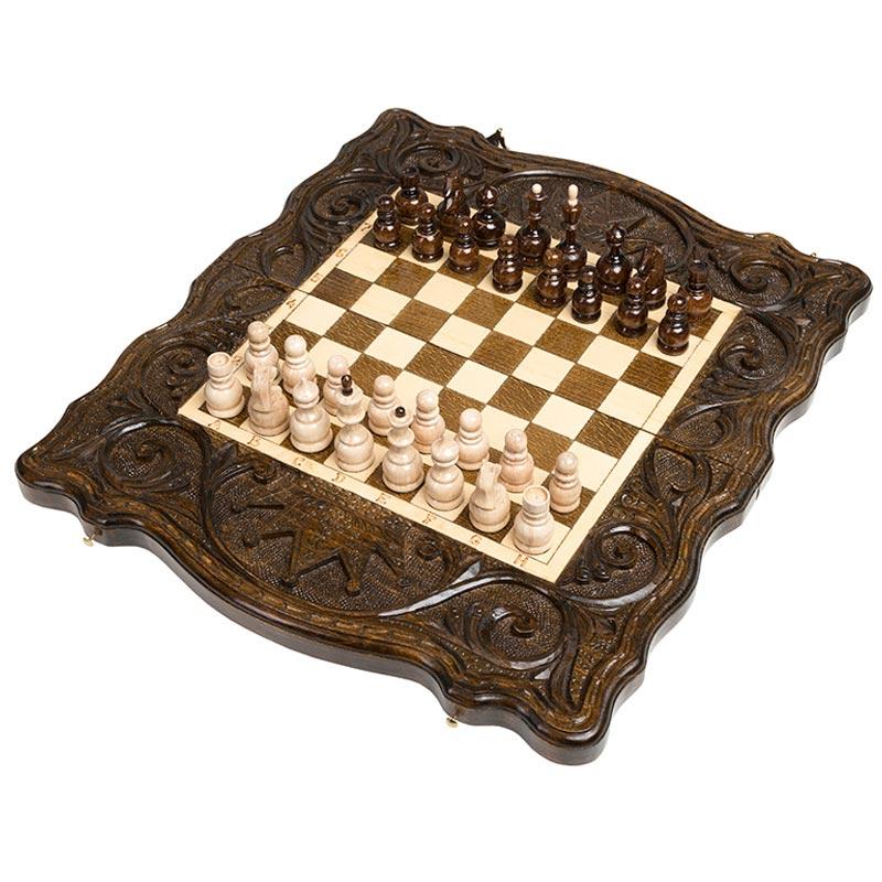 Купить Шахматы и нарды резные Haleyan Корона 40,