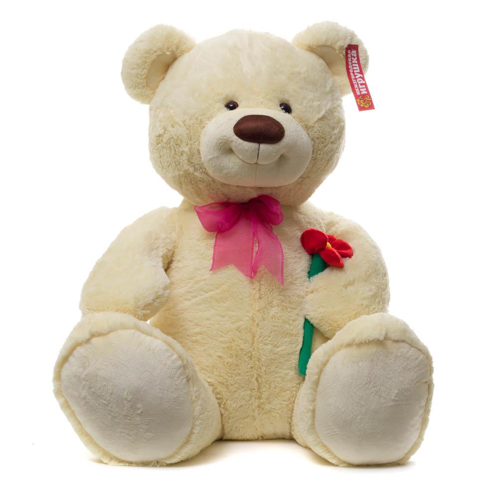 Купить Мягкая игрушка Мишка большой с цветком 85 см Нижегородская игрушка См-406-5, Мягкие игрушки животные