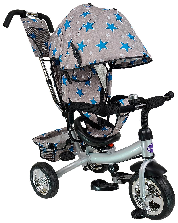Купить Велосипед трехколесный Farfello TSTX6588 серый с синими звездами, Детские велосипеды-коляски