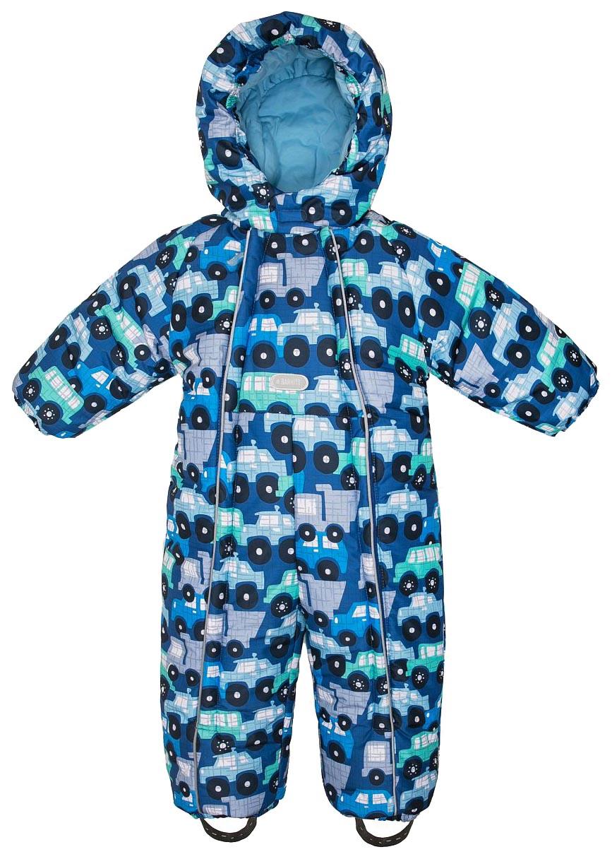 Купить W18B2001P, Комбинезон зимний для мальчика Barkito, синий с рисунком машинки р.74, Детские комбинезоны зимние