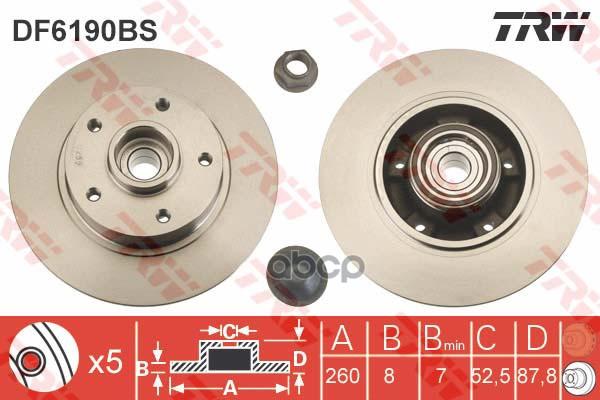 Диск тормозной TRW/Lucas задний для Renault Megane III 1.4/1.6/2.0 DF6190BS