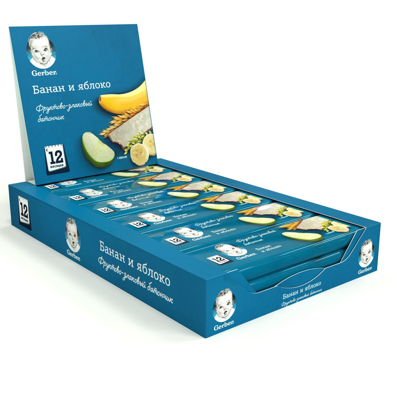 Фруктово-злаковый батончик Gerber с яблоком и бананом (с 12 мес.), 18 штук по 25 г фото