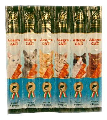 Лакомство для кошек B&B Allegro Cat колбаски, лосось, форель, 6шт по 5 г