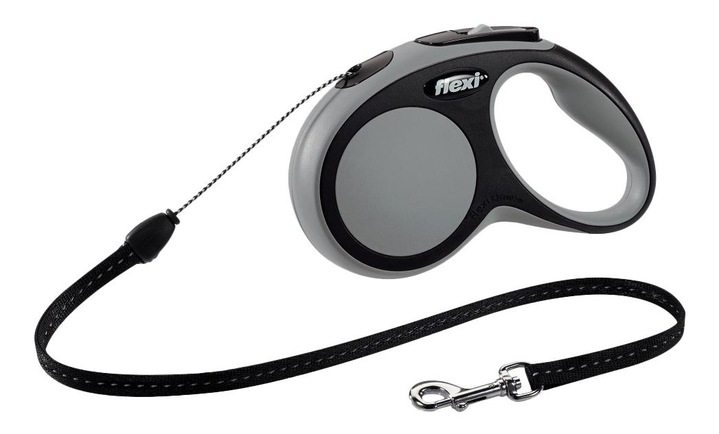 Поводок-рулетка для собак flexi New Comfort, трос, черный/серый, S, до 12 кг, 5 м