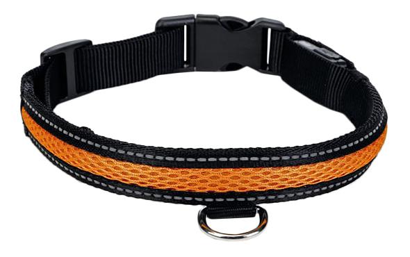 Ошейник Beeztees Нейлоновый светящийся (USB-подзарядка) для собак, 55-70 см