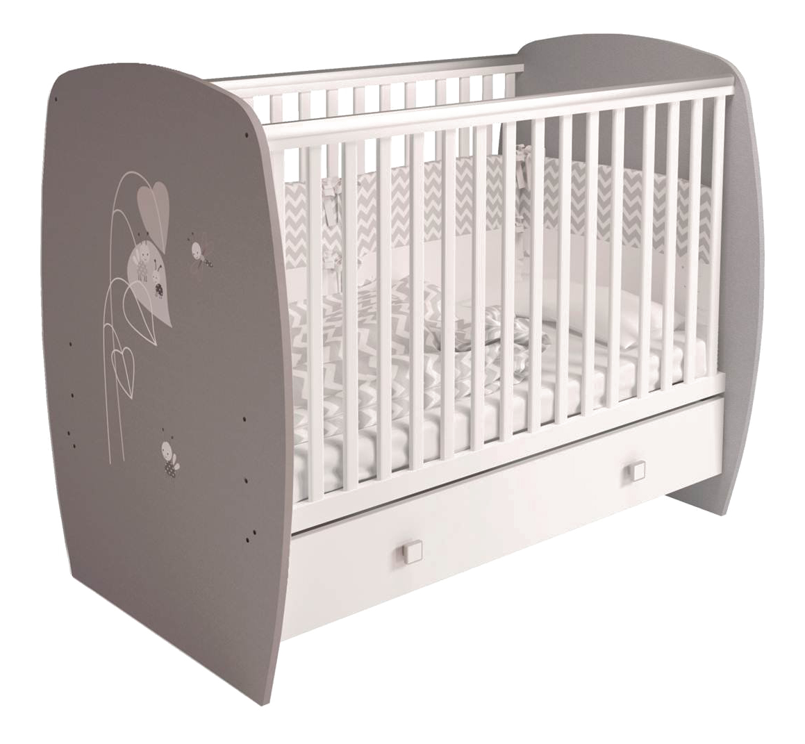 Кровать детская Polini French 710 Amis с ящиком, белый+серый