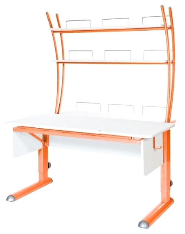 Парта Астек Моно 2 С надстройкой Белый Оранжевый