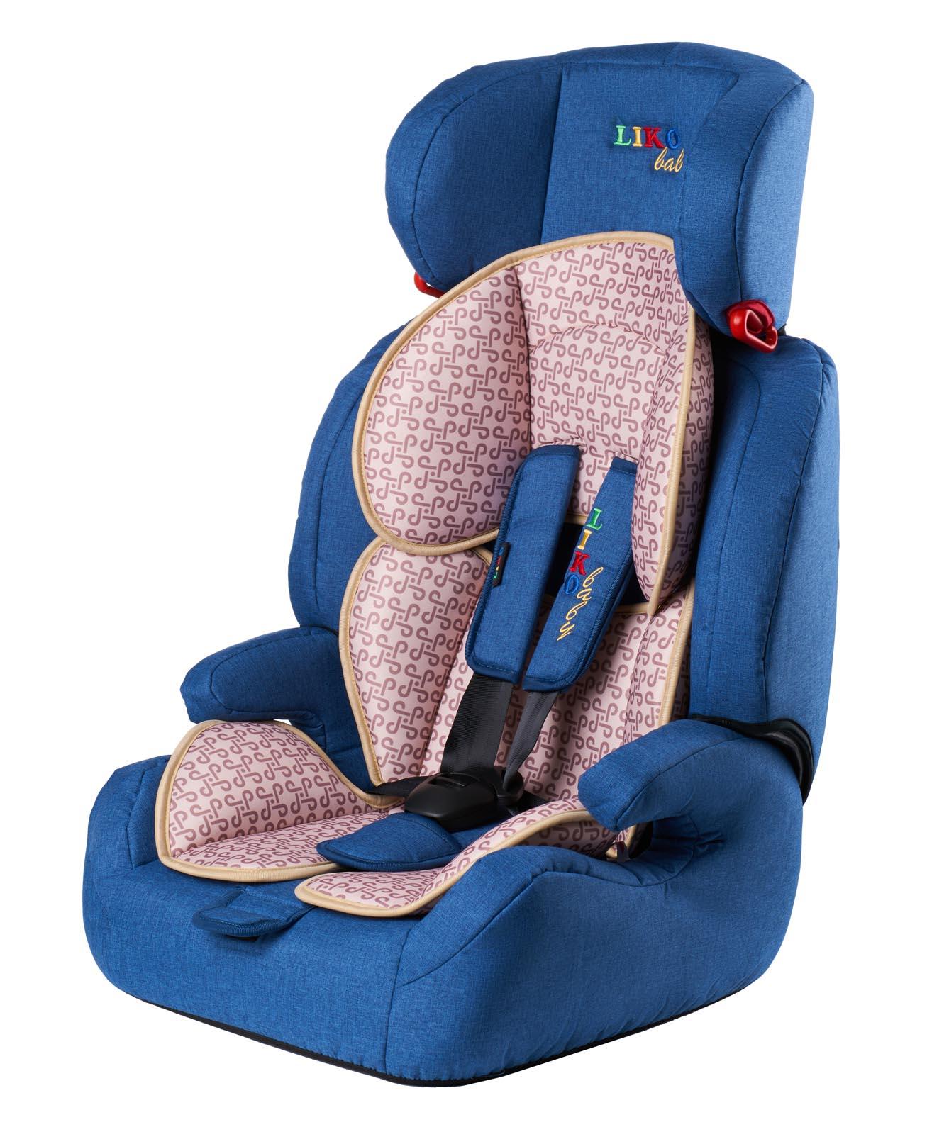 Купить Автокресло LIKO BABY LB 515 B Синий/Лен, Детские автокресла
