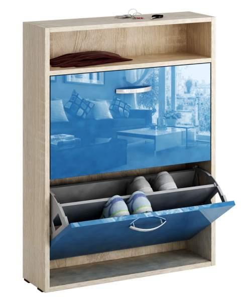 Обувница MFMaster Милан-25 МСТ-ОДМ-25У 60х17х88,2 см, дуб сонома/синий глянец