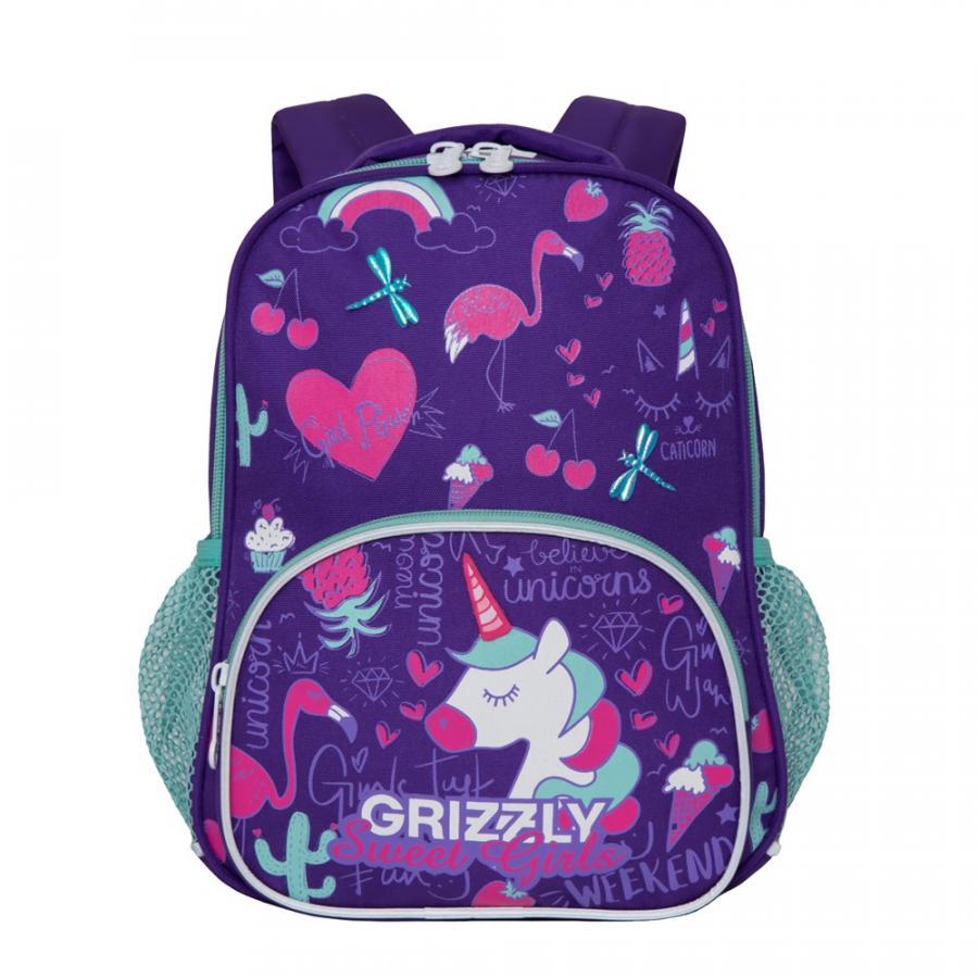 Купить Дошкольный рюкзак для девочки Grizzly Sweet Girls фиолетовый, Школьные сумки