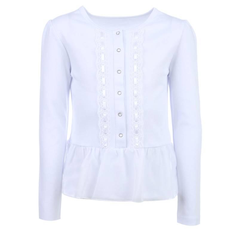 Купить 1850, Блузка Снег, цв. белый, 146 р-р, Белый снег, Блузки для девочек