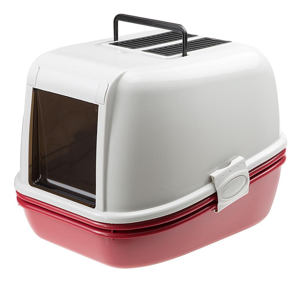 Туалет для кошек Ferplast Magix, прямоугольный, красный,