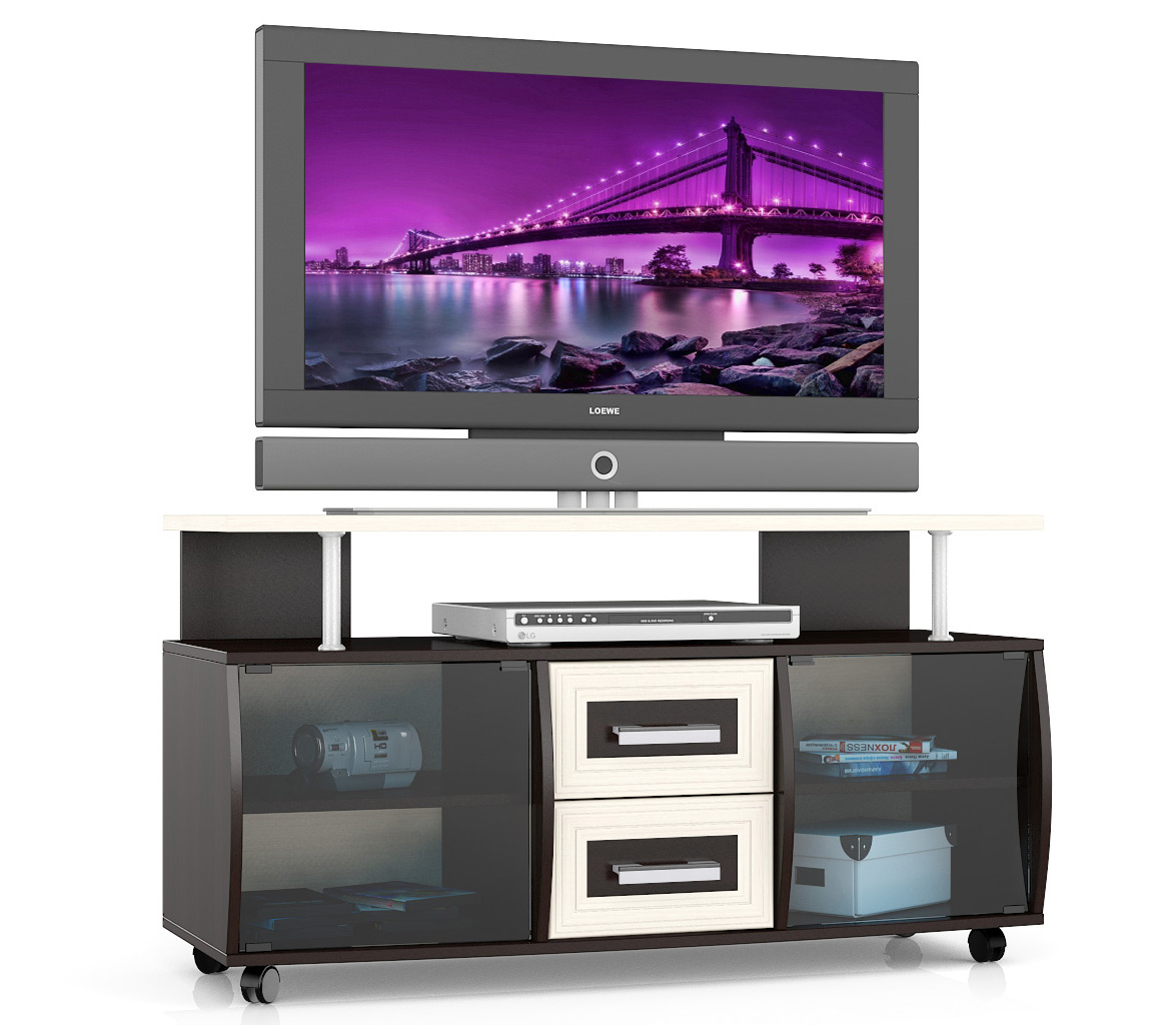 Тумба под телевизор выкатная Мебельный Двор Т9 120х45х65 см, венге