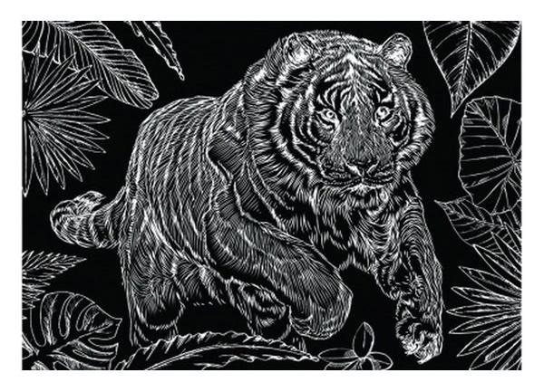 Гравюра Рыжий кот А5 с эффектом золота Тигр на охоте