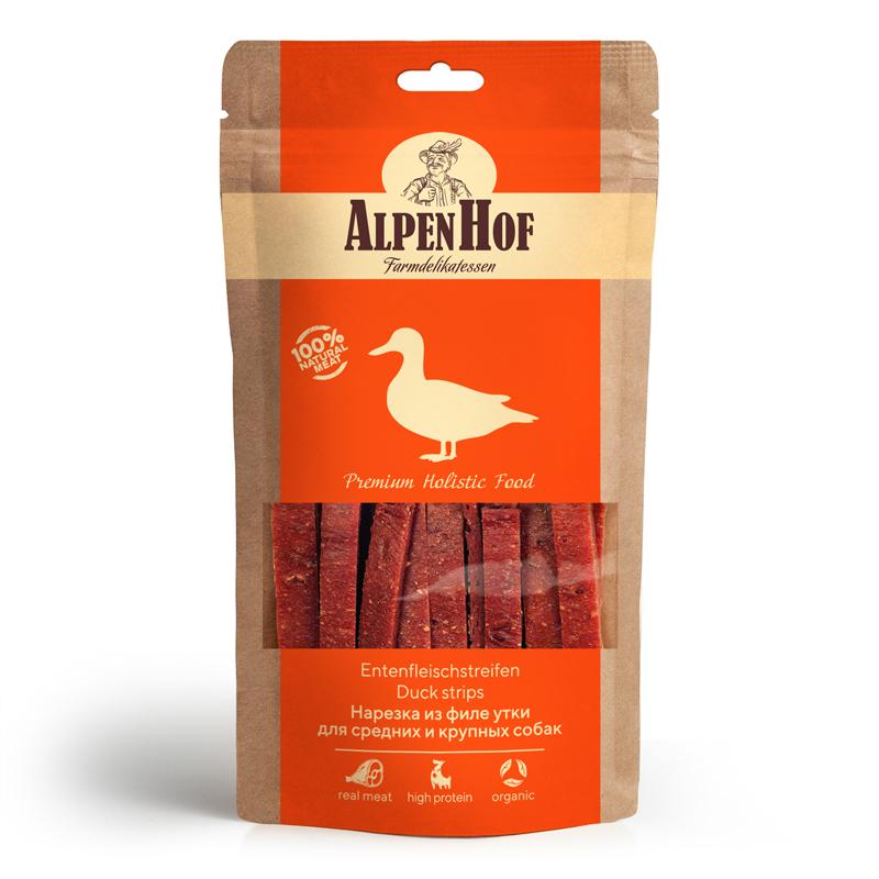 Лакомство для собак AlpenHof Нарезка из филе утки, для средних и крупных пород, 80г