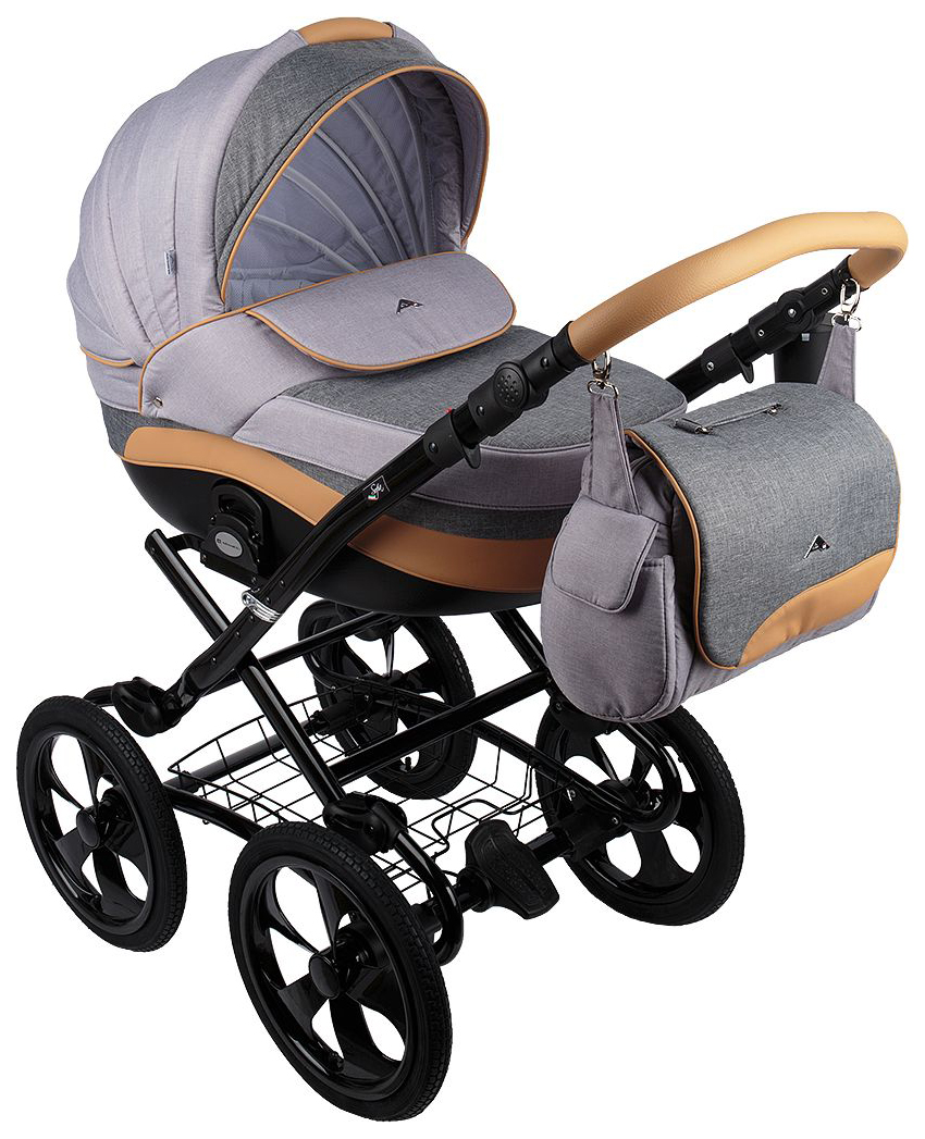 Купить Коляска 3 в 1 Adamex Sofia HC Black Cерый, темно-серый, Карамель, Детские коляски 3 в 1