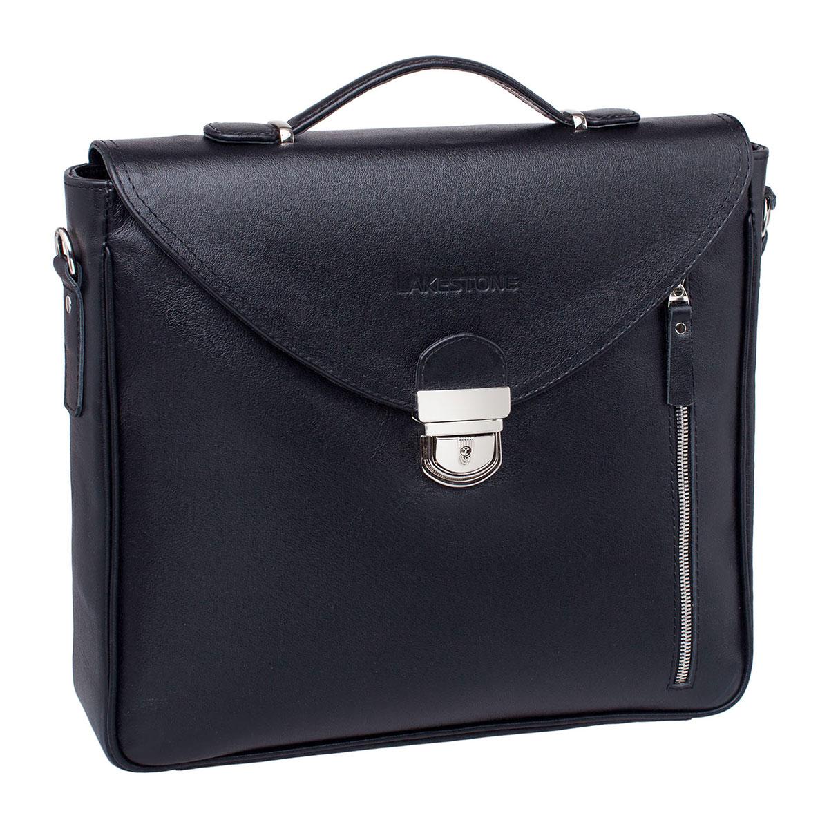 Портфель мужской кожаный Lakestone Clifton черный фото