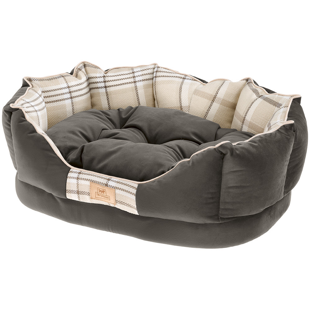Лежак Ferplast Charles с двухсторонней подушкой для собак (45 x 35 x 17 см, Коричневый)