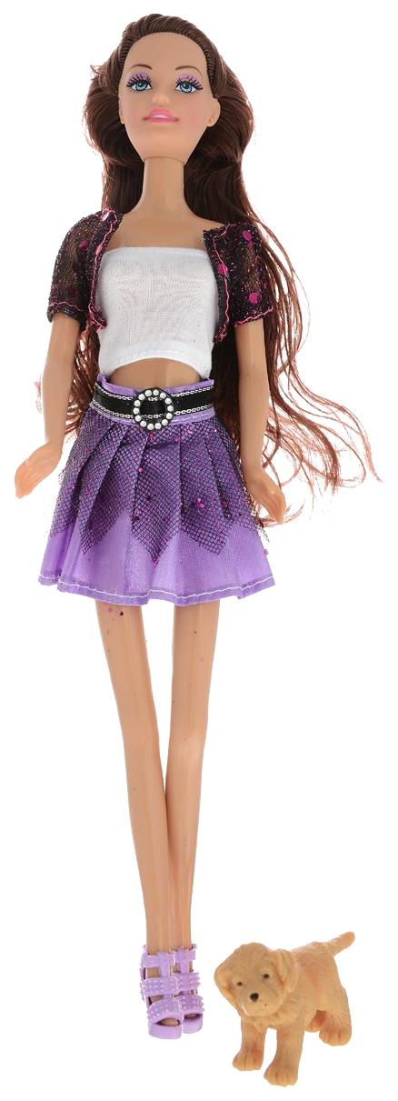 Купить Кукла Toys Lab Ася - Шатенка в фиолетовой юбке на прогулке с щенком, 28 см, Классические куклы