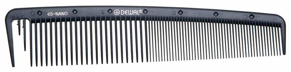 Купить Расческа Dewal Nano Комбинированная Широкая С раздельным зубцом Антистатик 19 см Черный
