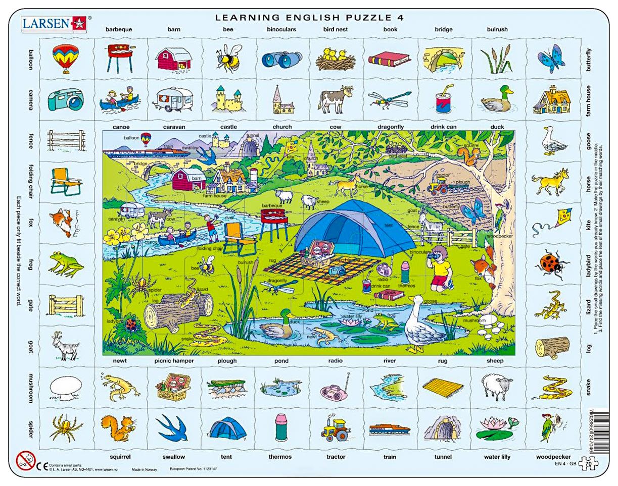 Купить Пазл Larsen Обучающий Larsen Изучаем английский-4 70 элементов, Пазлы
