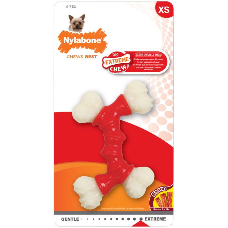 Игрушка для собак NYLABONE Двойная косточка экстра жесткая с ароматом бекона XS фото