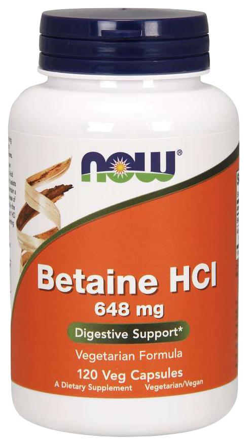 Купить Для пищеварения NOW Betaine HCL 648 мг 120 капсул