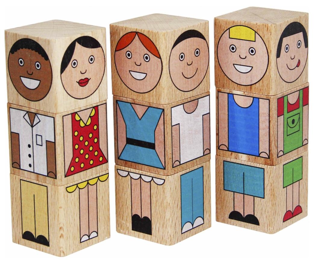 картинка Кубики Краснокамская игрушка Смешные человечки 9 шт от магазина Bebikam.ru