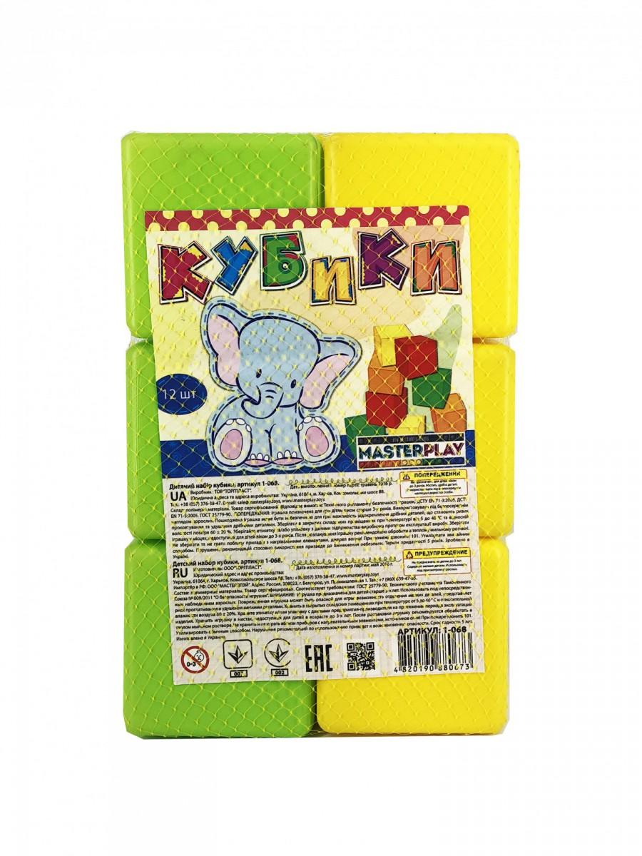 Купить Набор кубиков Colorplast 1-068 88 мм, 12 шт., Развивающие кубики