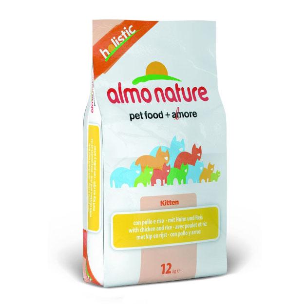 Сухой корм для котят Almo Nature Holistic, с курицей и коричневым рисом, 12кг